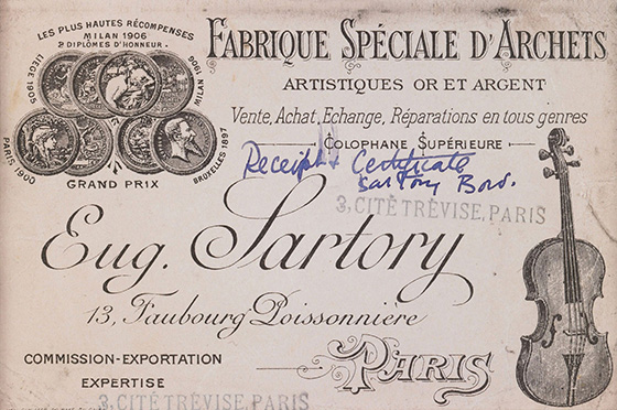 Eugène Nicolas Sartory Business Card